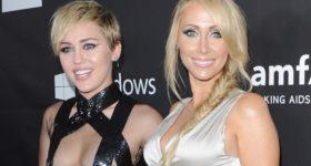 HOLLYWOOD, CA - OCTOBER 29: Singer Miley Cyrus and Tish Cyrus arrive at the 2014 amfAR LA Inspiration Gala at Milk Studios on October 29, 2014 in Hollywood, California. (Photo by Jon Kopaloff/FilmMagic)
