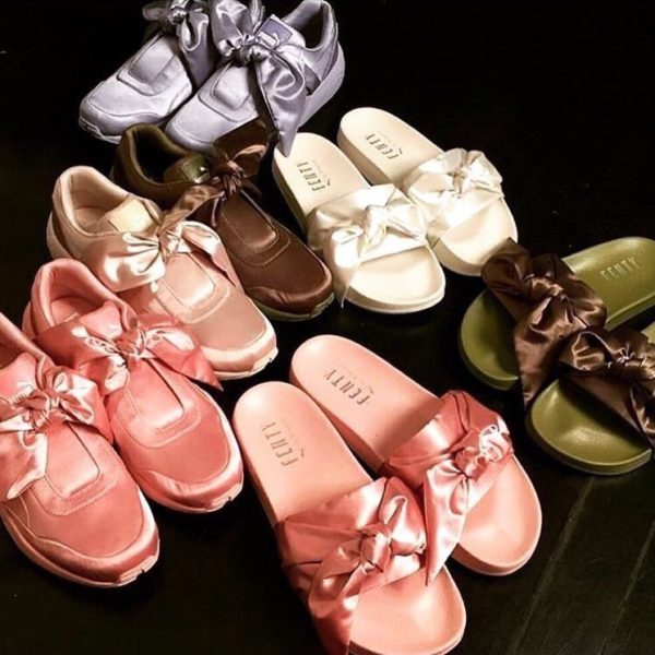 the latest fccb5 2ae35 Lilac, White, and Rosey-Beige Fenty Puma Bow Slides and ...