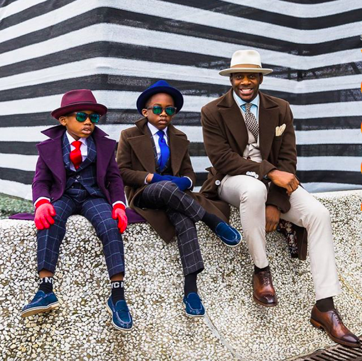 Designer Daniel Mofor and his sons #pittiuomo. Photo by Acielle @styledumonde (Instagram)