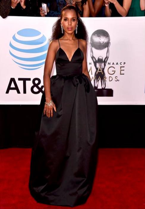 Kerry Washington at NAACP Image Awards wearing a Michael Kors gown. Photo via Instagram @kerrywashington