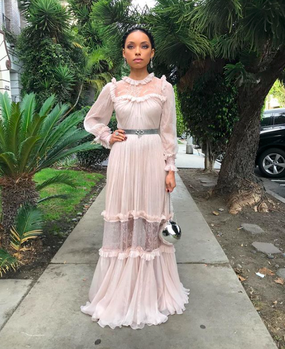 Logan Browning before the NACCP Image Awards via Instagram @loganlaurice