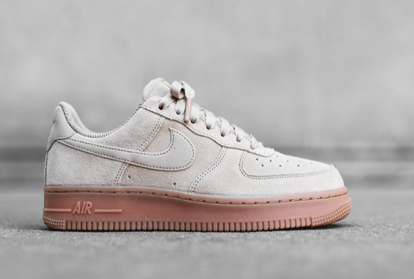 release date: 38fe4 c8b1a These AF1s come in pink, tan, and gray uppers with a solid gum rubber  outsole. All three suede and gum colorways of the women s Air Force 1 ...