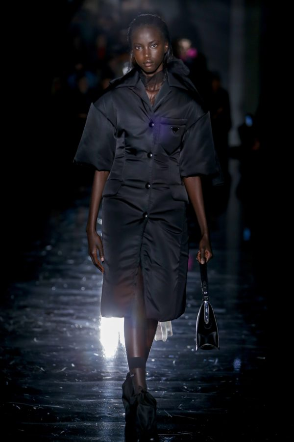 Anok Yai opening Prada's AW18 show, the first black woman to do so since 1997, via Monica Feudi/Indigital.tv