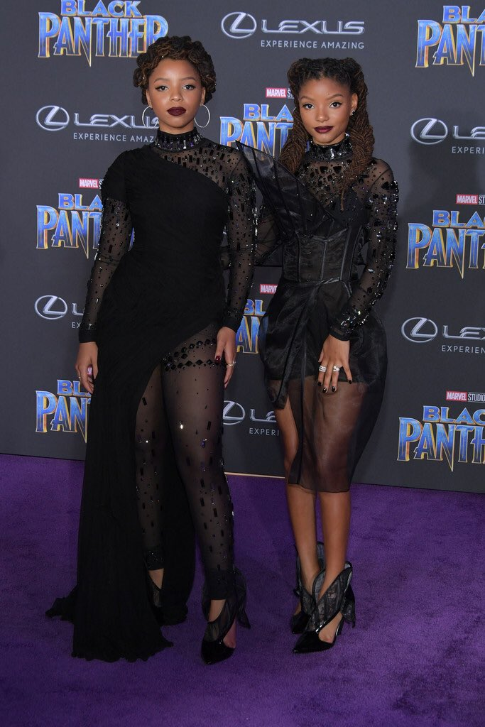Chloe and Halle Bailey at the #BlackPanther Movie Premiere