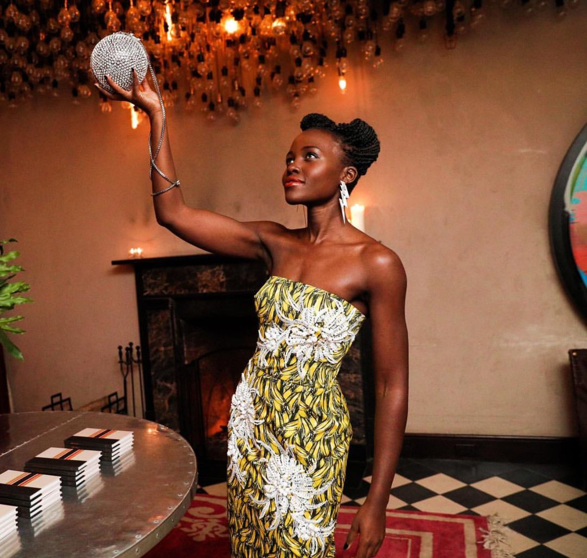 Lupita Nyong'o at Micaela Erlanger's 'How to Accessorize' book launch via Instagram @lupitanyongo