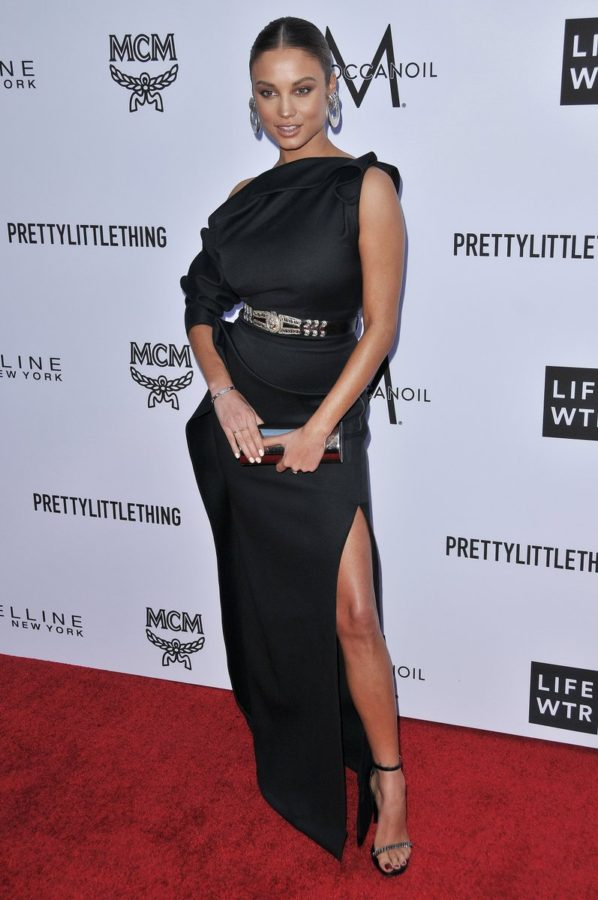 Rose Bertram wearing Toni Maticevski, YSL heels and a Calvin Klein clutch via Instagram @rose_bertram