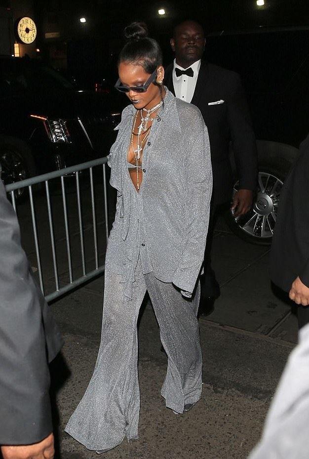 Rihanna wearing Nina Ricci to a Met Gala afterparty. Photo via Backgrid