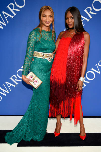 Valerie and Naomi Campbell wearing Calvin Klein at the CFDA Awards. Picture by Getty Images