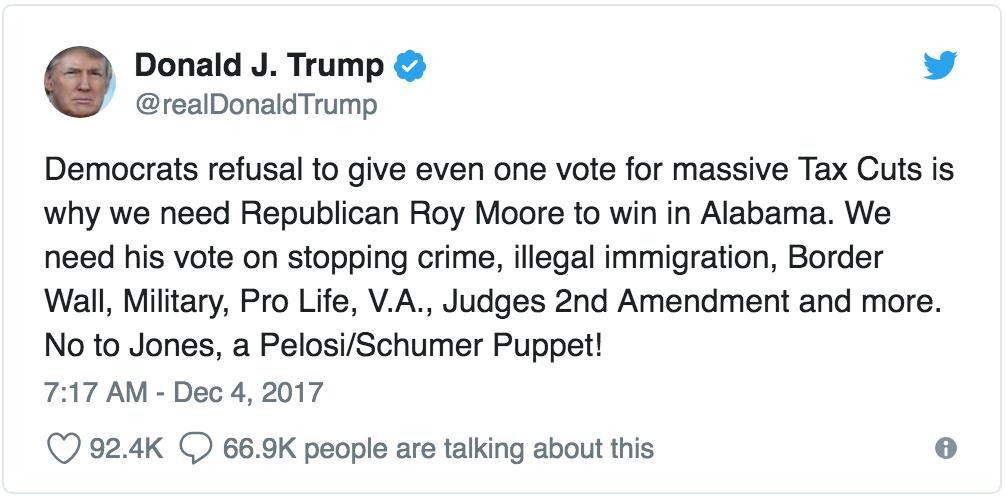 trump racism roy moore